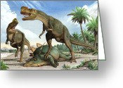 Dinosaurs Greeting Cards - Confrontation Between Two Kileskus Greeting Card by Sergey Krasovskiy