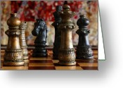 Chess Pieces Greeting Cards - Confrontation Greeting Card by Joe Kozlowski