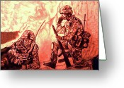 Iraq Greeting Cards Drawings Greeting Cards - Confrontation Greeting Card by Johnee Fullerton