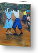 Nicole Jean-louis Greeting Cards - Congo Dance Greeting Card by Nicole Jean-Louis