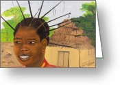 African Heritage Greeting Cards - Congolese Woman Greeting Card by Nicole Jean-Louis