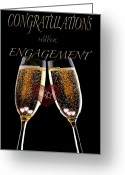 Formal Mixed Media Greeting Cards - Congratulation On Engagement Greeting Card by Debra     Vatalaro