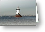 Ocean Pyrography Greeting Cards - Conimicut Lighthouse Rhode Island Greeting Card by Thomas Theroux