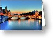 Dusk Greeting Cards - Connecting Bridge Greeting Card by Romain Villa Photographe