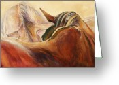 Equines Painting Greeting Cards - Connections Greeting Card by Diane Williams