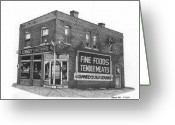 Kansas City Drawings Greeting Cards - Connelys Market Greeting Card by Bruce Kay