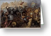 Mesoamerican Greeting Cards - Conquest Of Mexico, 1521 Greeting Card by Granger