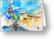 Travel Drawings Greeting Cards - Conquistador Boat in Portugal Greeting Card by Miki De Goodaboom