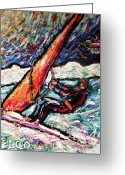 Wind Surfing Art Painting Greeting Cards - Conscience Surfer Greeting Card by Dennis Velco