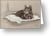 Photorealism Pastels Greeting Cards - Considering Greeting Card by Nanybel Salazar
