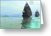 Sailboat Picture Greeting Cards - Consort Greeting Card by Corey Ford