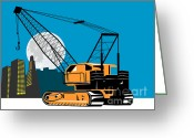 Boom Greeting Cards - Construction Crane Hoist Retro Greeting Card by Aloysius Patrimonio