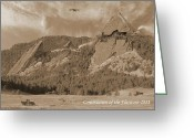 Bi Plane Greeting Cards - Construction of the Flatirons - 1931 - Sepia Greeting Card by Jerry McElroy