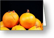 Food And Beverage Digital Art Greeting Cards - Construction on oranges Greeting Card by Mingqi Ge