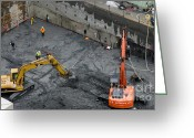 Seattle Greeting Cards - CONSTRUCTION SITE diggers and workmen in the foundation pit of a new building Seattle Greeting Card by Andy Smy