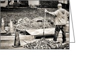 Shovel Greeting Cards - Construction Worker Greeting Card by Olivier Le Queinec