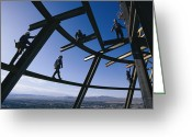 Group Projects Greeting Cards - Construction Workers On Beams Greeting Card by Paul Chesley