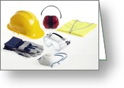 Helmet Greeting Cards - Construction Workers Safety Equipment Greeting Card by Tek Image