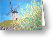 Teresa Dominici Greeting Cards - Consuegra Windmills in Spain Greeting Card by Teresa Dominici