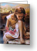 Little Girl Greeting Cards - Consuelo Greeting Card by Arthur Braginsky