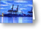 Delivery Greeting Cards - Container Cargo freight ship with working crane bridge in shipya Greeting Card by Anek Suwannaphoom