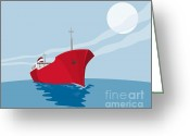 Illustration Greeting Cards - Container Ship Cargo Boat Retro Greeting Card by Aloysius Patrimonio