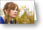 Gold Earrings Photo Greeting Cards - Contemplating the Changing Season Greeting Card by DJ Haimerl