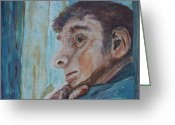 Deep In Thought Painting Greeting Cards - Contemplation Greeting Card by Barbara McGeachen