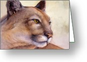Puma Greeting Cards - Contemplation Greeting Card by Bonnie Rinier