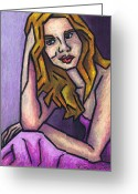 Oil Pastel Greeting Cards - Contemplation Greeting Card by Kamil Swiatek