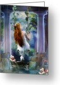 Whimsical Greeting Cards - Contemplation Greeting Card by Karen Koski