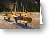 Empty Park Bench Greeting Cards - Contemporary Benches at a Park Greeting Card by Jaak Nilson