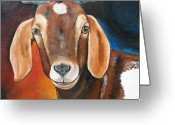 Kid Painting Greeting Cards - Contemporary Goat Greeting Card by Laura Carey