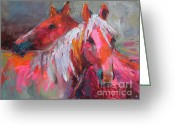 Textured Artwork Greeting Cards - Contemporary Horses painting Greeting Card by Svetlana Novikova