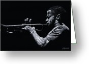 Musicians Pastels Greeting Cards - Contemporary Jazz Trumpeter Greeting Card by Richard Young