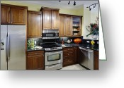 Cupboards Greeting Cards - Contemporary Kitchen Greeting Card by Skip Nall