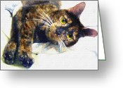Calico Cat Greeting Cards - Contented Cat Greeting Card by Jane Schnetlage