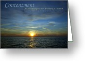 Clouds Posters Greeting Cards - Contentment Greeting Card by Michelle Calkins
