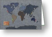 America Mixed Media Greeting Cards - Continental Denim World Map Greeting Card by Michael Tompsett