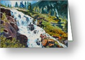 Lakes Pastels Greeting Cards - Continental Falls Greeting Card by Mary Benke