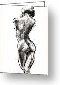 Charcoal Greeting Cards - Contra Posta Female Nude Greeting Card by Roz McQuillan