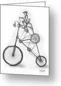 Pen And Ink Drawing Drawings Greeting Cards - Contraption Greeting Card by Adam Zebediah Joseph