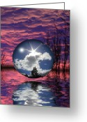 Sunrise Mixed Media Greeting Cards - Contrasting Skies Greeting Card by Shane Bechler