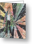 Vertigo Painting Greeting Cards - Controlling the Madness-Vest Greeting Card by Nicholas Vermes