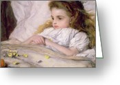 Kid Painting Greeting Cards - Convalescent Greeting Card by Frank Holl