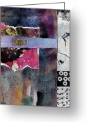 Experimental Mixed Media Greeting Cards - Converging Paths Greeting Card by Donna Frost