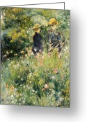 Conversation Greeting Cards - Conversation in a Rose Garden Greeting Card by Pierre Auguste Renoir