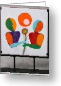 Flowers Glass Art Greeting Cards - Conversations With Picasso Greeting Card by Mark Lubich