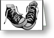 Sneakers Greeting Cards - Converse Greeting Card by Kalie Hoodhood