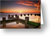 Horizon Over Water Greeting Cards - Coogee Beach At Early Morning,sydney Greeting Card by Noval Nugraha Photography. All rights reserved.